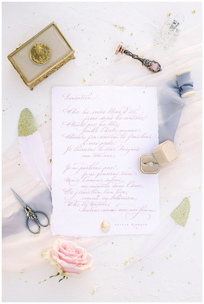 mariage voeux calligraphie